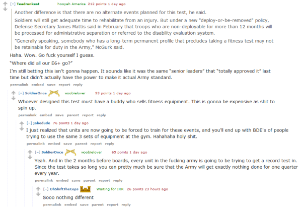 What Soldiers Really Think Of The New Army PT Test, According To Reddit