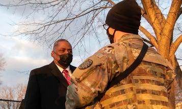 Austin thanks National Guardsmen who are braving bitter cold to keep Washington, D.C. safe