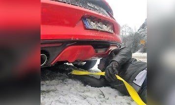 We salute this soldier who towed six vehicles stranded from a snow storm