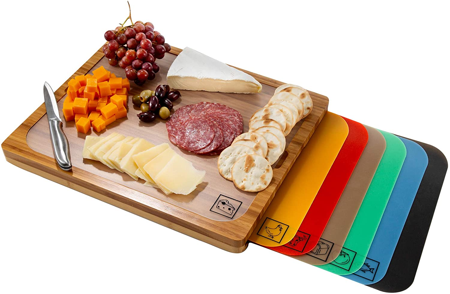 2-Seville Classics Bamboo Cutting Board and Color-Coded Cutting Mats