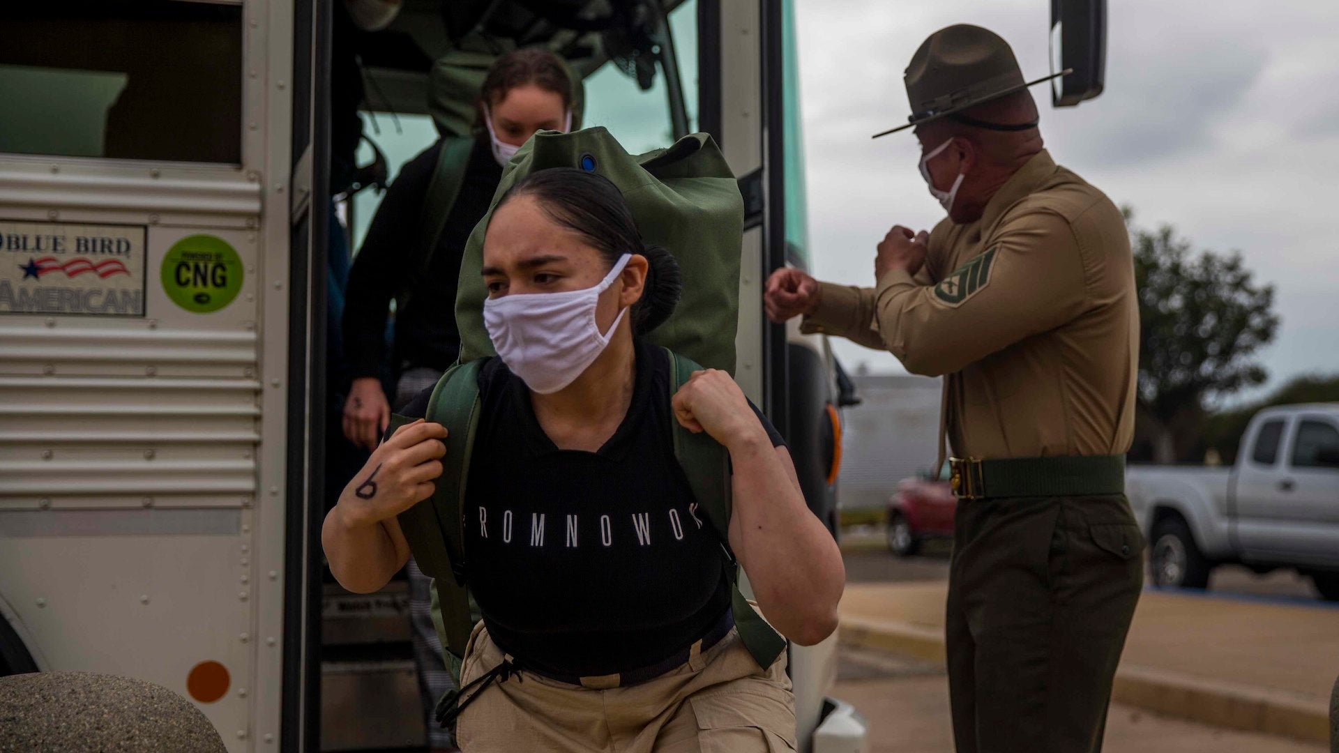 Female Marine recruits have arrived at Recruit Depot San Diego for training for the first time ever