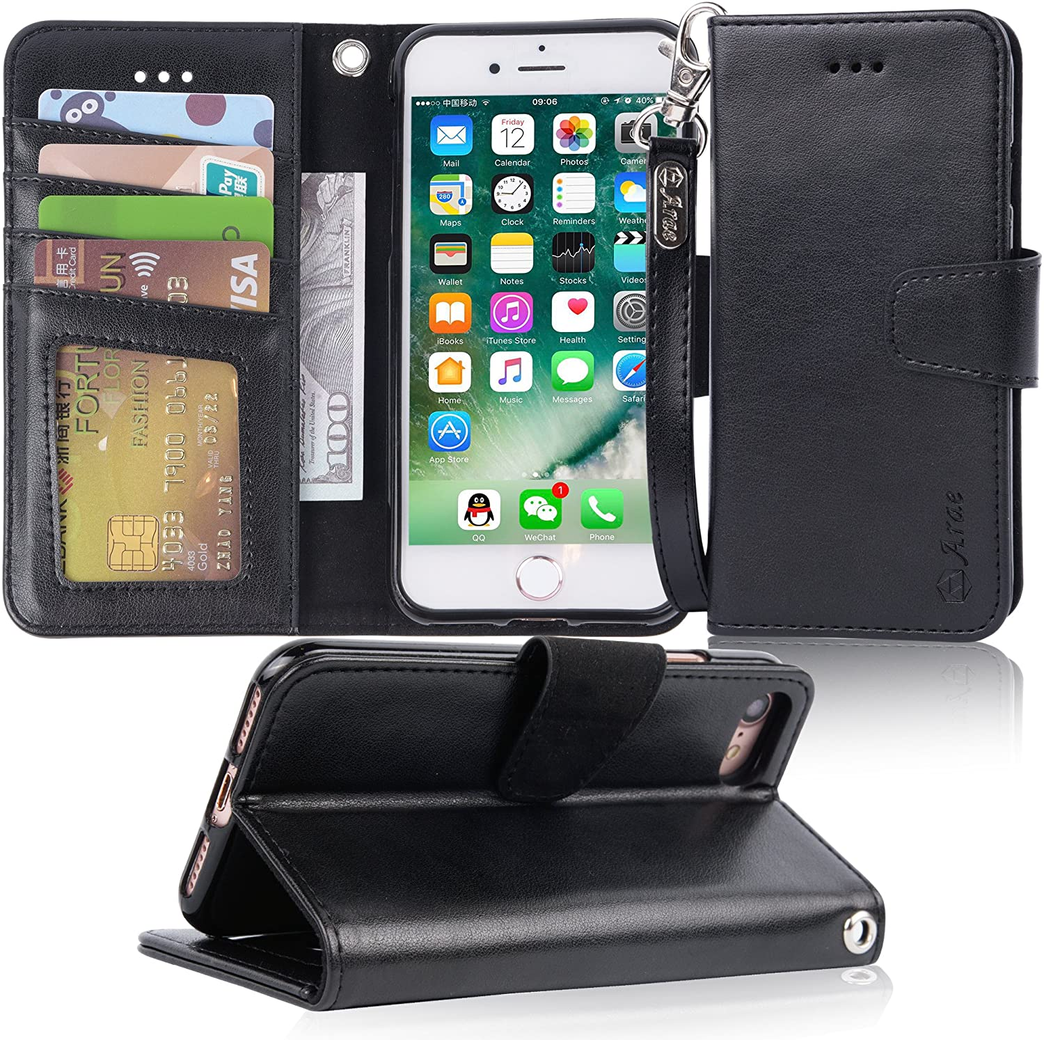 Arae PU Leather Wallet iPhone Case