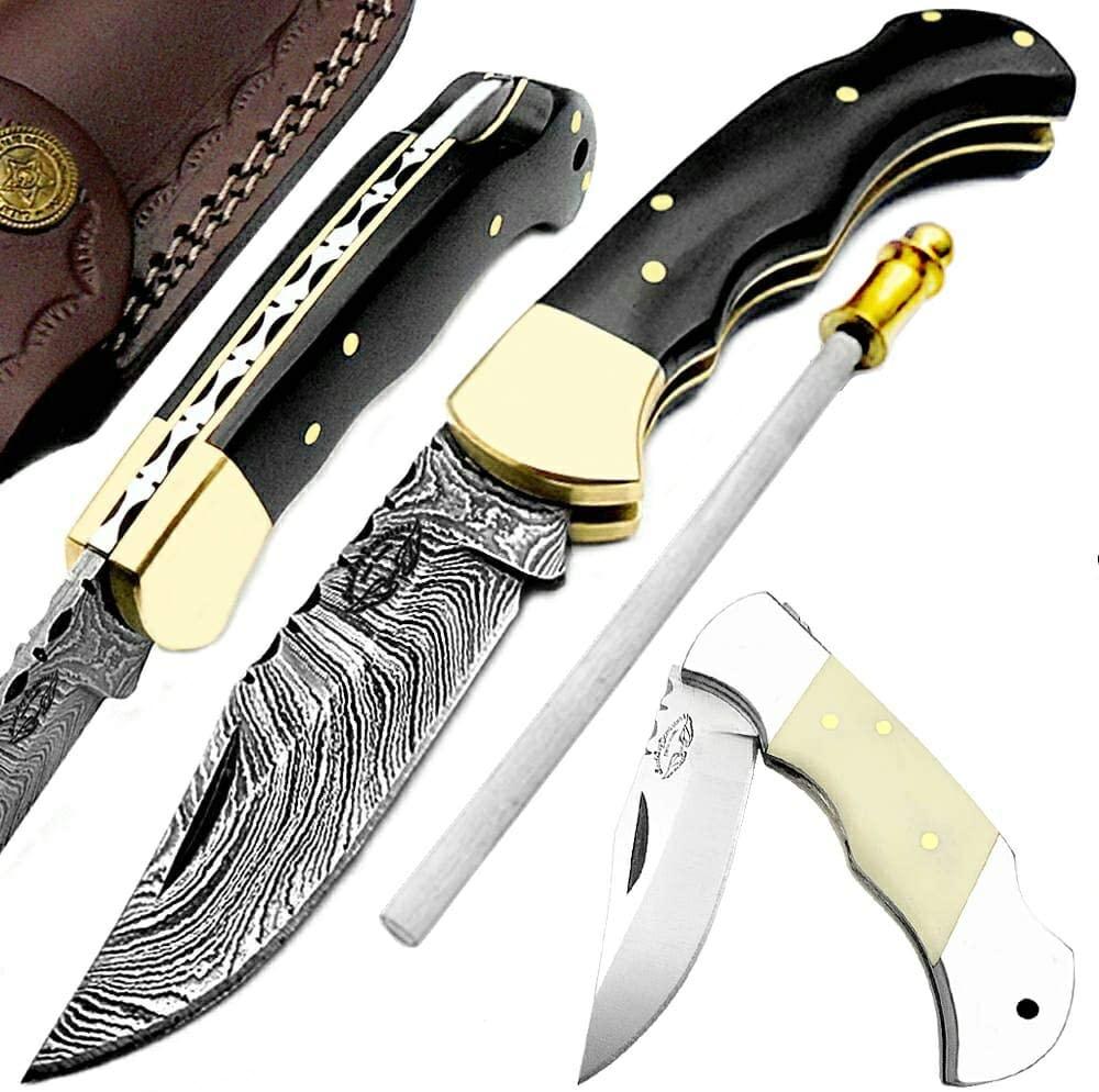 """Buffalo Horn 6.5"""" Damascus Knife"""