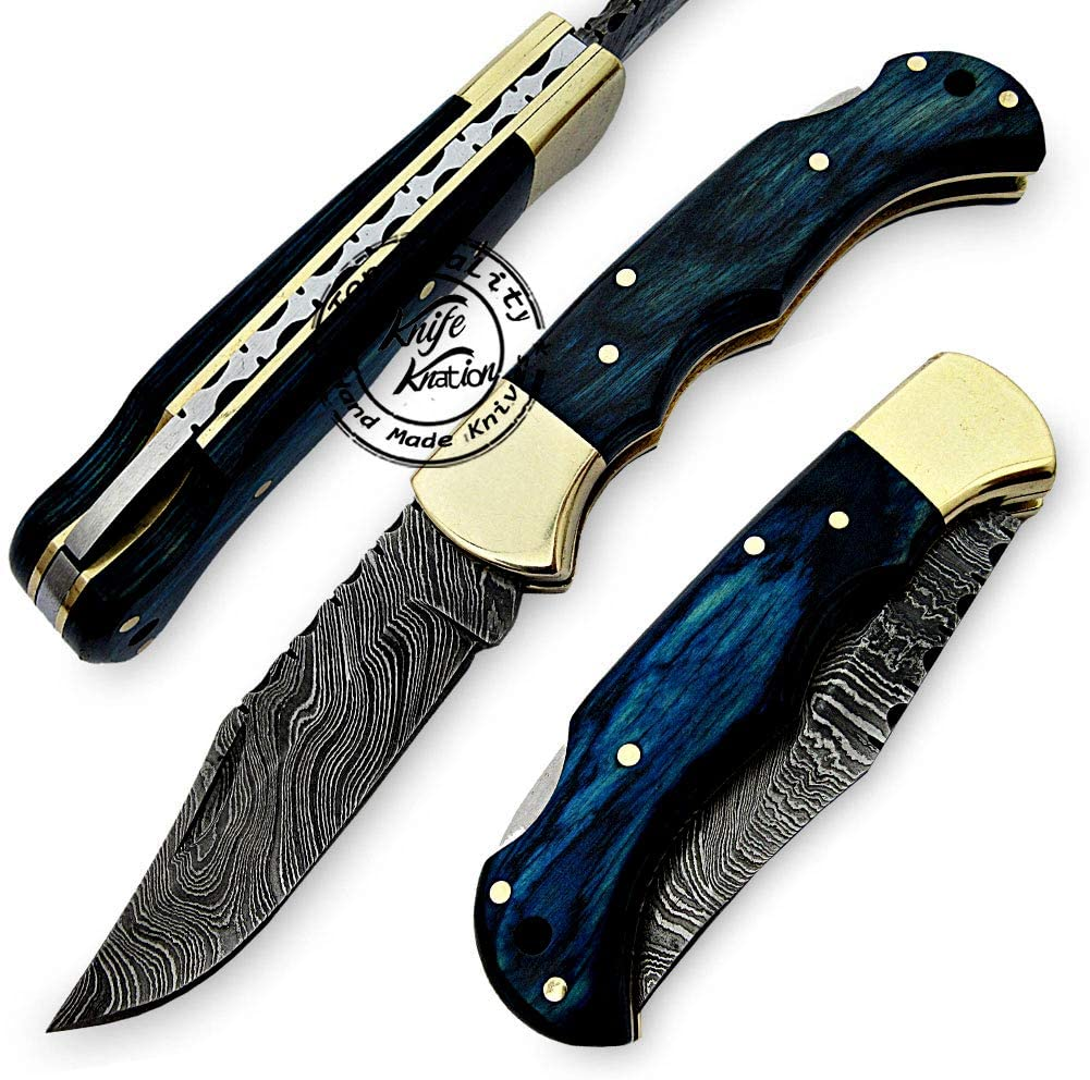 "Knife Knation 6.5"" Damascus Pocket Knife"