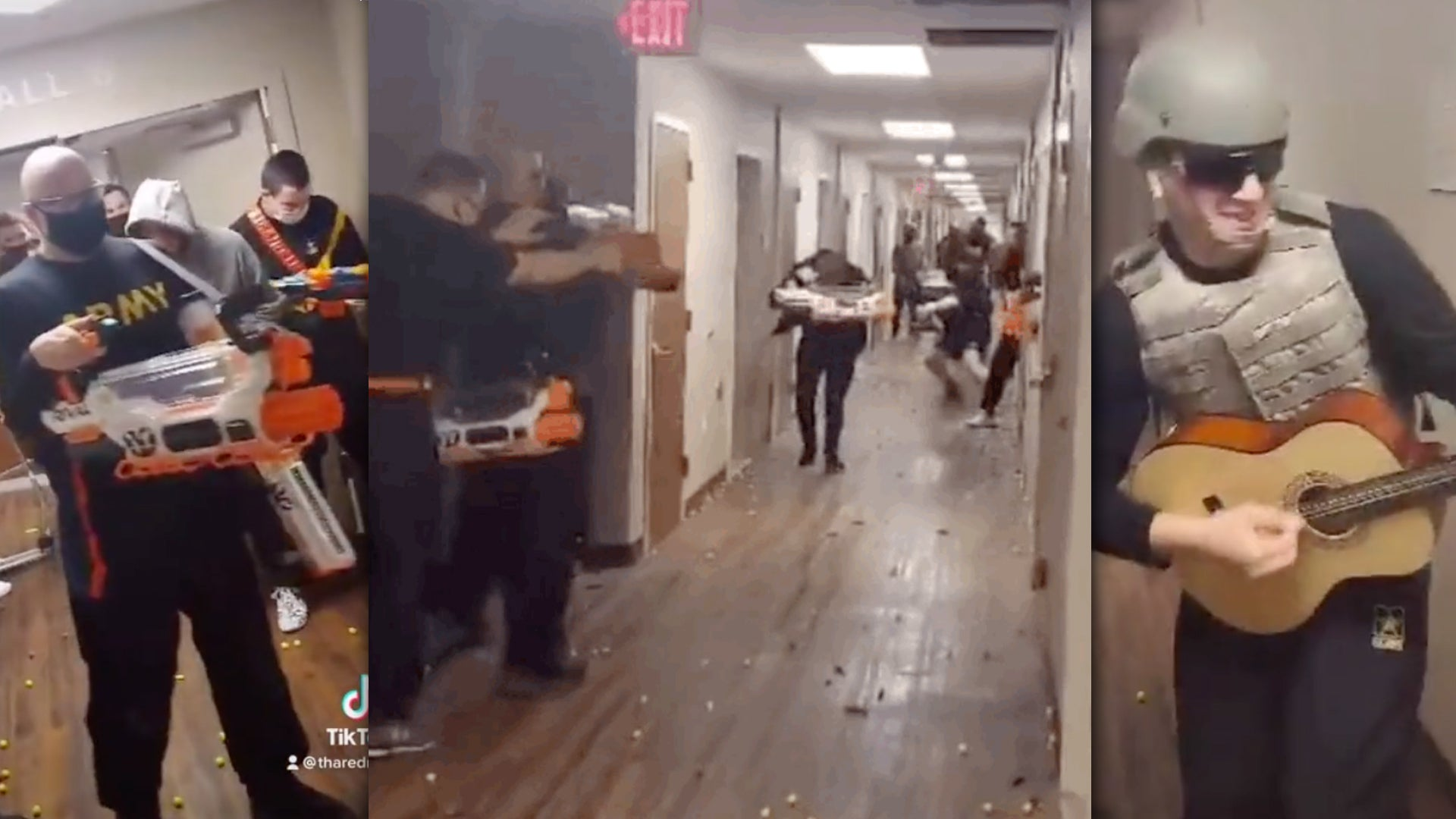 This may be the greatest barracks Nerf battle we've ever seen