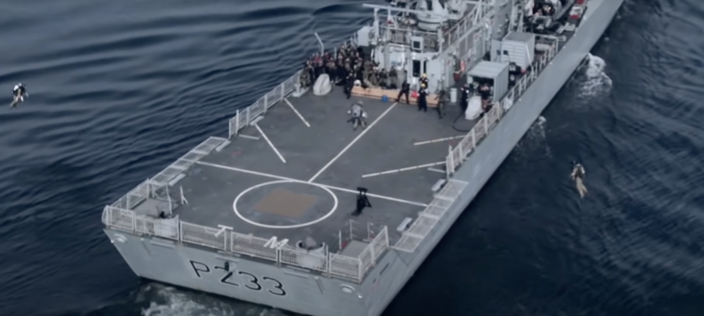 Watch a jetpack-flying Royal Marine board a ship like freakin' Boba Fett