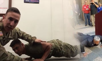 Retired Army Lt. Col. Allen West embarrasses himself in one-man push-up contest