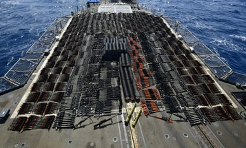 The Navy seized a small boat carrying enough weapons to invade a small country
