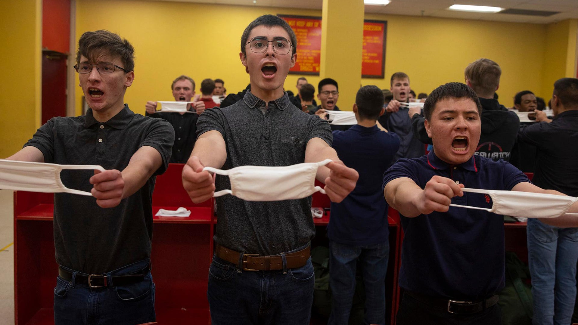 This photo of Marine recruits on their first day at boot camp is begging for a caption contest