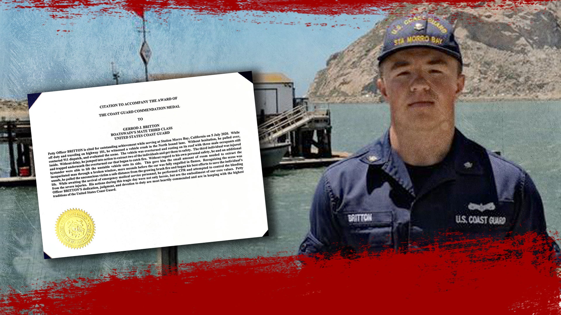 This Coast Guardsman helped pick up a flaming car with his bare hands and dragged 3 people to safety