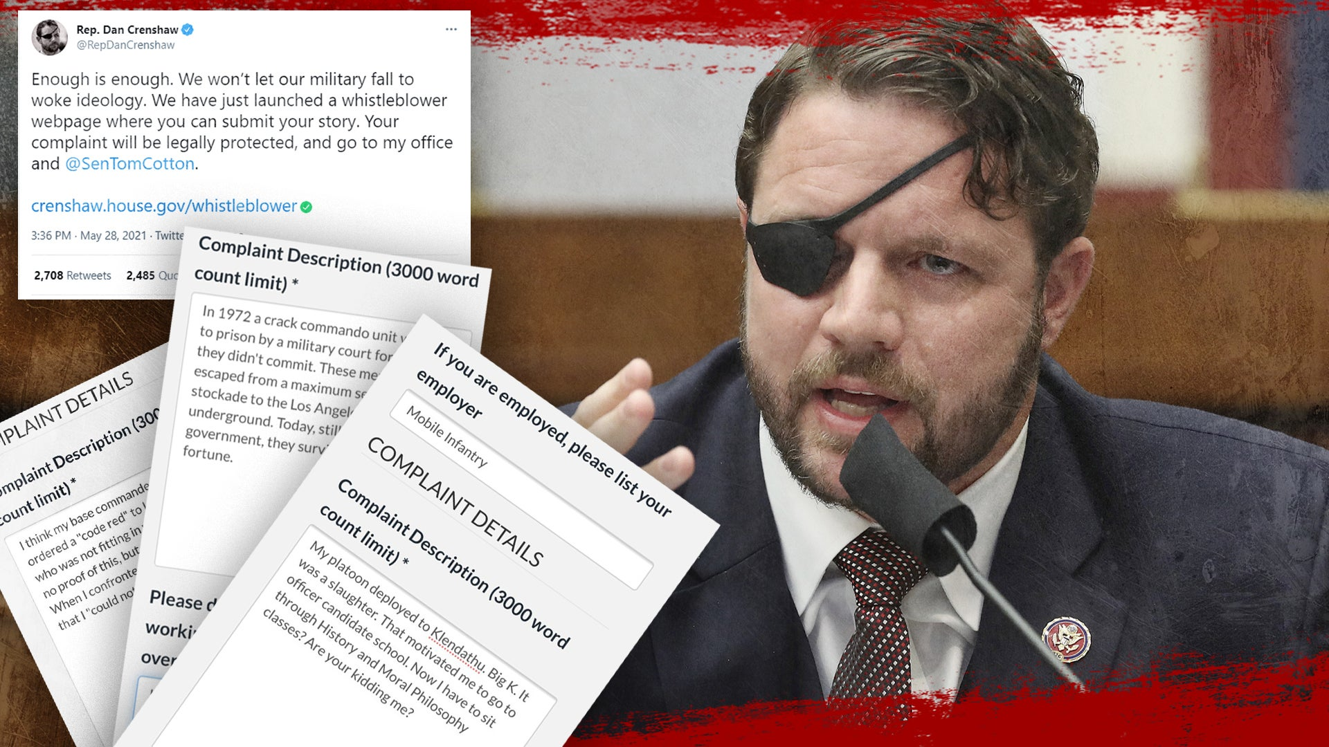 Dan Crenshaw wants people to blow the whistle on 'woke ideology' in the military and he's getting roasted for it [UPDATED]