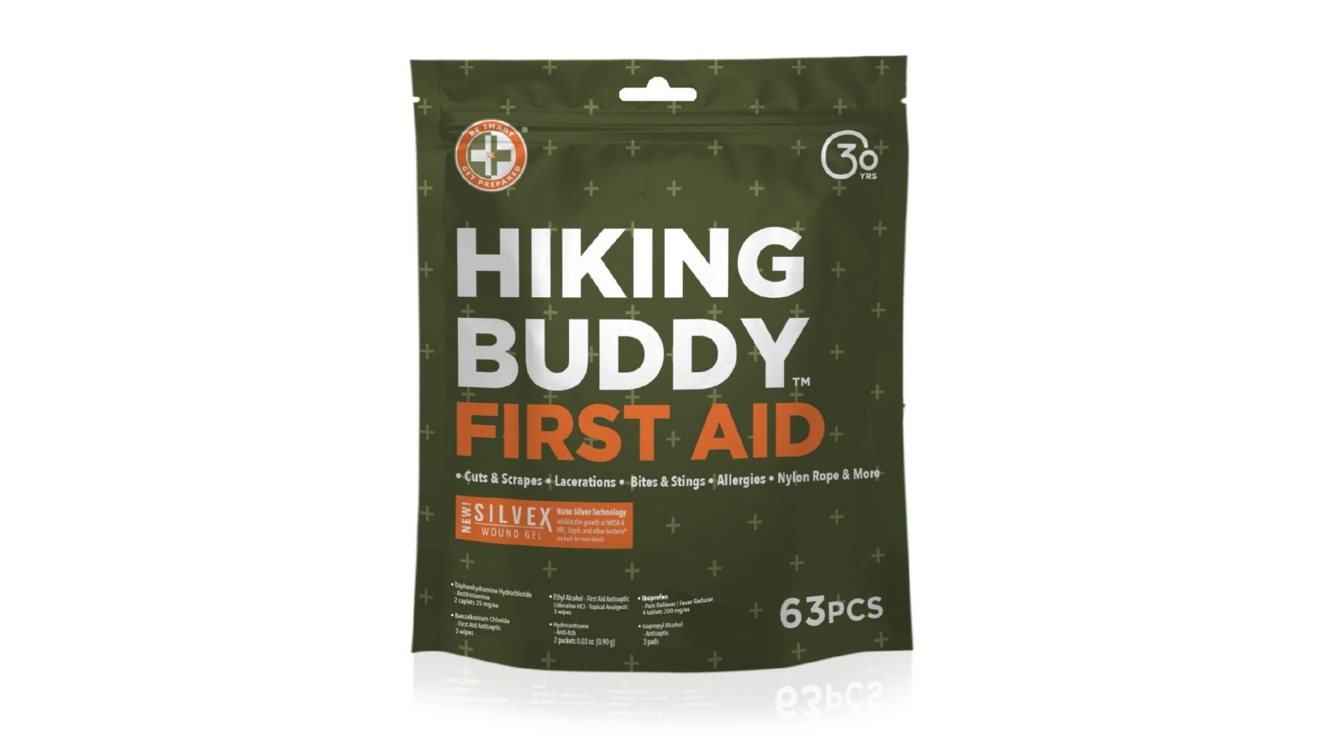 Hiking Buddy First Aid Kit by Be Smart Get Prepared, 65 Pieces