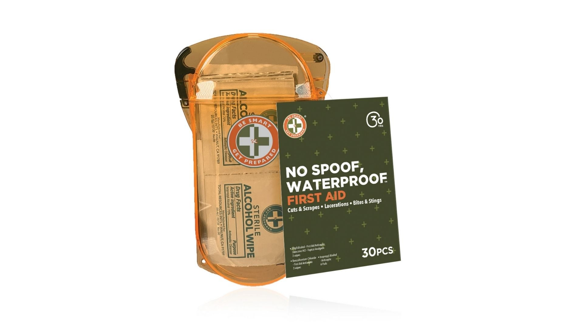 No Spoof, Waterproof First Aid Kit by Be Smart Get Prepared, 30 Piece
