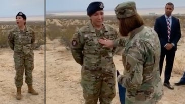 airman ivanna jenkins being promoted by Chief Master Sgt. of the Air Force Joanne Bass