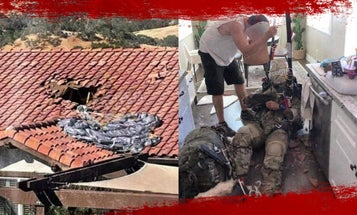 This is what it looks like when a paratrooper crashes through your roof