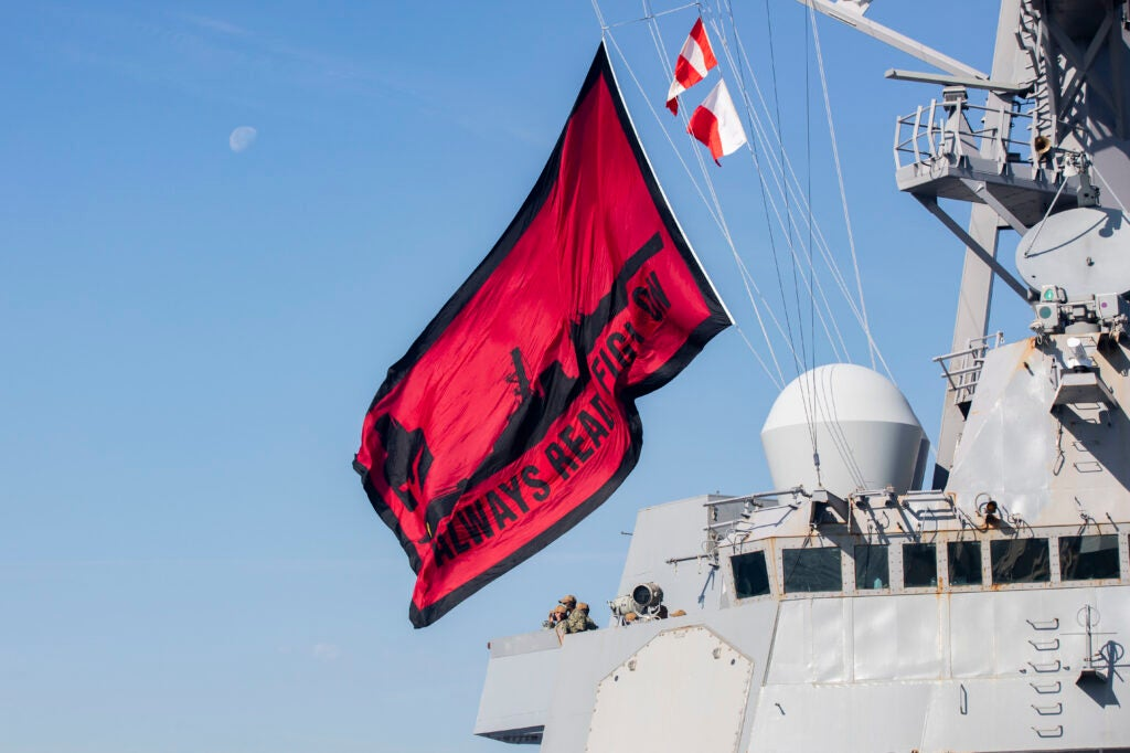 One of the Navy's youngest destroyers is rocking a brand new battle flag at sea