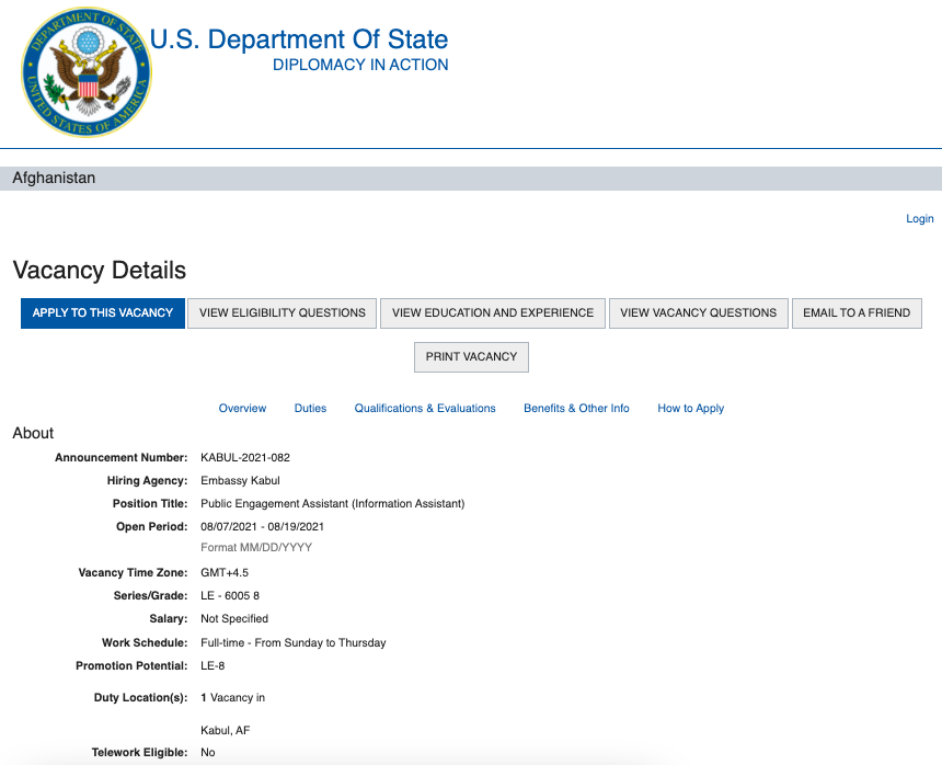 US Embassy in Kabul posted job opening days before preparing for evacuation