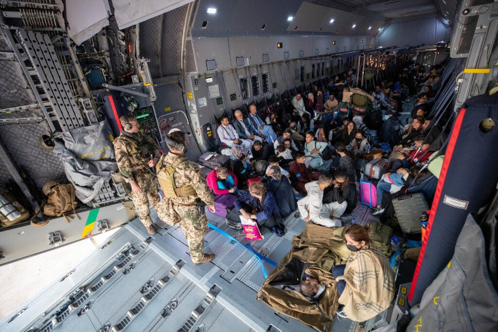afghanistan German evacuation aircraft from Afghanistan arrives in Tashkent