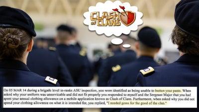 We salute the soldier whose uniform didn't fit after spending all their money on 'Clash of Clans'