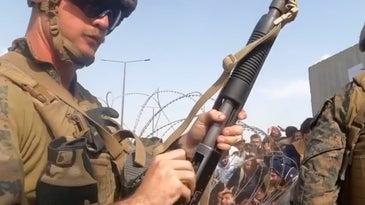 marine shotgun at kabul airport