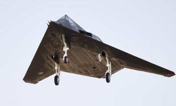 Here's a rare look at an Air Force F-117 stealth jet flying over California