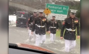 Their car became stuck in flood waters. Then the Marines showed up.
