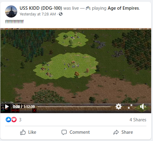 Someone hijacked a Navy warship's Facebook account so they could livestream 'Age of Empires' [UPDATED]