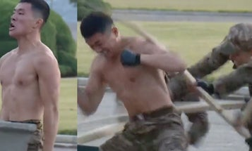 Train like you fight: Watch a North Korean soldier smash concrete with his head