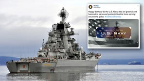 NCIS wished the US Navy happy birthday with a photo of a Russian warship